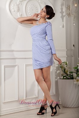 Long Sleeves Mother Bride Dress Column Single Strap