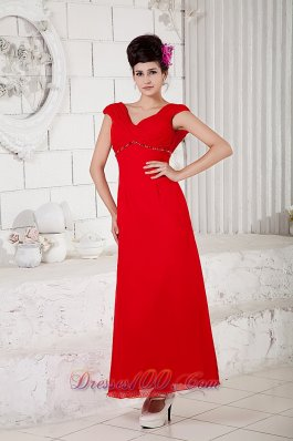 Ruched Straps Prom Homecoming Dress Ankle-length