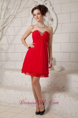 Red Sweetheart Prom Homecoming Dress Mini Beading