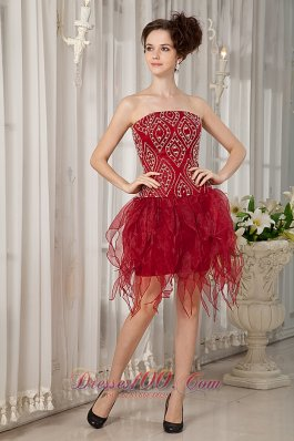 Handkerchief Hem Party Dress Beading Wine Red