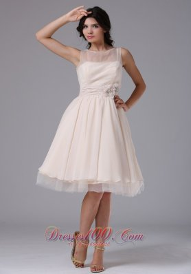 Round Neck Flowers Short Prom Dress Knee-length
