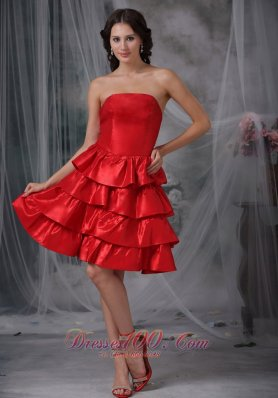A-line Knee-length Ruffled Layers Ruffles Homecoming Dress