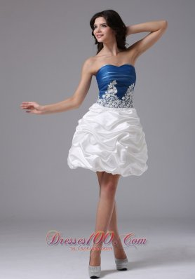 Blue and White Appliques and Pick-ups Prom Dress