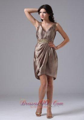 V-neck Beaded Waist Column Ruched Prom Dress