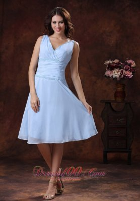 V-neck Two Straps Ruch Prom Dress With Knee-length