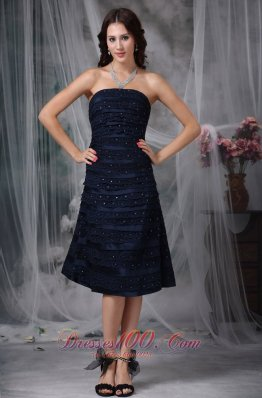 Navy Knee-length Beaded Lace Ruch Bridesmaid Dress
