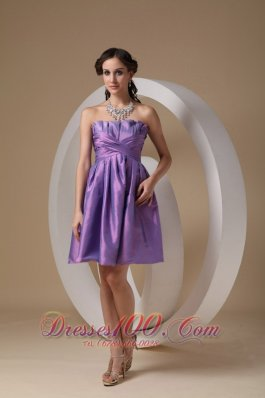 Lavender A-line Mini Ruch Prom / Homecoming Dress