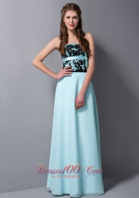 Light Cyan Column Balck Lace Long Prom Graduation Dress