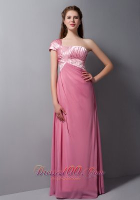 One Cap Sleeves Prom Dress Taffeta and Chiffon