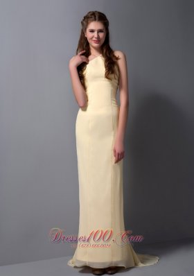 Halter Light Yellow Column Brush Train Prom Dress