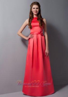 High Neck Coral Column Sash Prom Dress Long