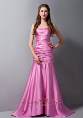 Mermaid Rose Pink Strapless Brush Ruch Prom Dress