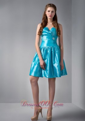 Teal A-line V-neck Beading Prom Dress Sweetheart