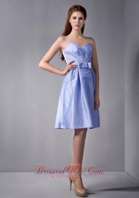 Straps Column Knee-length Ruch Bridesmaid Dress