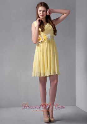 Hand Flowers Yellow Empire Ruched Straps Prom Gown