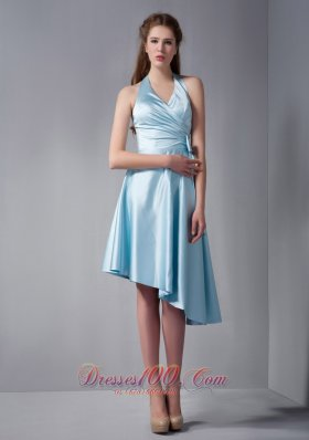 Halter Asymmetrical Hemline Ruch Prom Dress Sky Blue