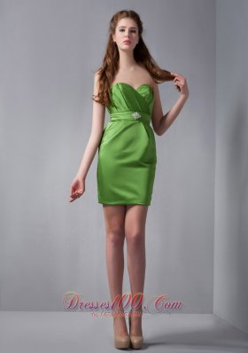 Spring Green Column Mini Beading Bridesmaid Dress