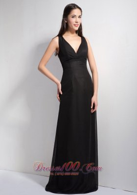 Black Deep Neck Floor-length Prom Dress Column