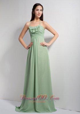Apple Green Empire Halter Brush Ruch Prom Dress