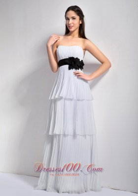 Cake Style White Empire Flower Pleating Prom Holiday Dresses