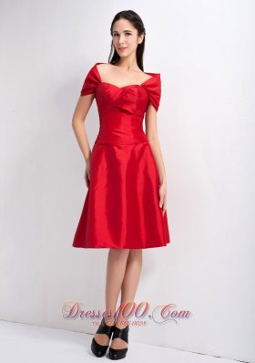 Wrap Red A-line Knee-legnth Bridesmaid Dress