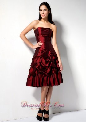 Pick-ups Burgundy A-line Prom Dress Knee-length