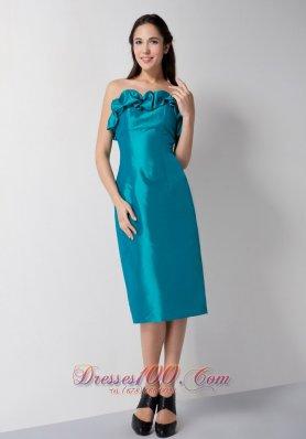 Floral Bustline Teal Column Prom DressTea-length