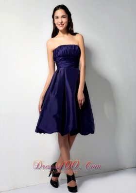 Purple Princess Knee-length Ruch Bridesmaid Dress