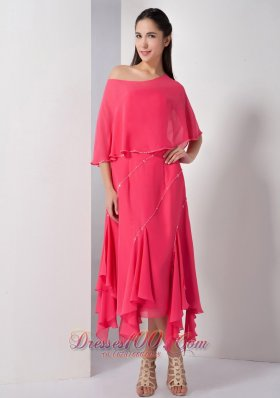 Asym Loose Cover Tea-length Beading Bridesmaid Dress