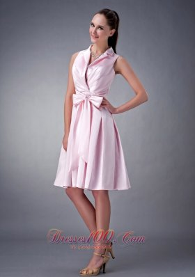 T Shirt Like Collar Tea-length Beading Bridesmaid Dress
