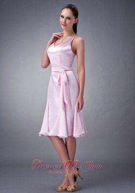 Sheath V-neck Knee-length Sash Bridesmaid Dress