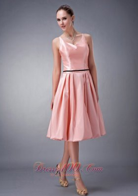 Watermelon Bridesmaid Dress Princess Straps Knee-length Sash