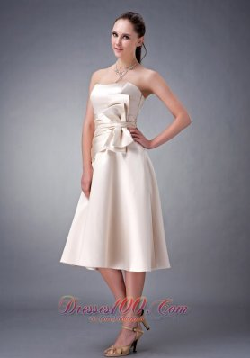 Princess Strapless Sash Bridesmaid DressTea-length