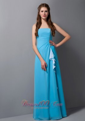 Handkerchief Front Aqua Empire Beading Bridesmaid Dress