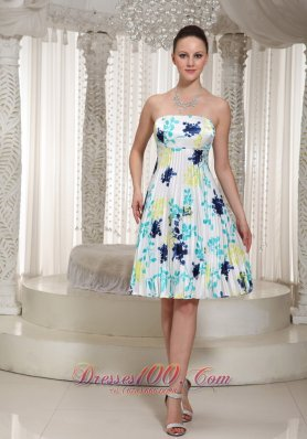Floral Print Prom Dress Strapless Neckline Knee-Length