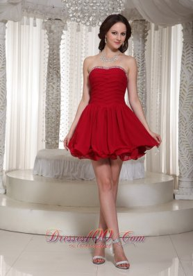 A-line Beaded Bustline Ruched Prom Dress For Cocktail