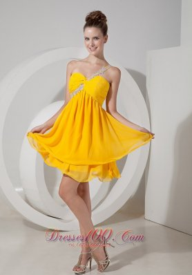 Yellow Applique One Shoulder Beading Prom / Homecoming Dress