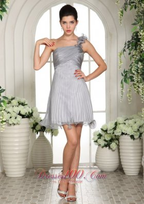 Floral One Shoulder Prom Dress Empire Gray