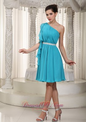 Teal Empire One Shoulder Mini Beading Prom Dress