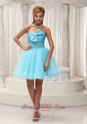 Aqua A-line Prom Cocktail Dress Ruched Bodice Mini