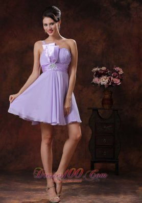 Lilac One Shoulder Short Ruched Waistband Prom Dress