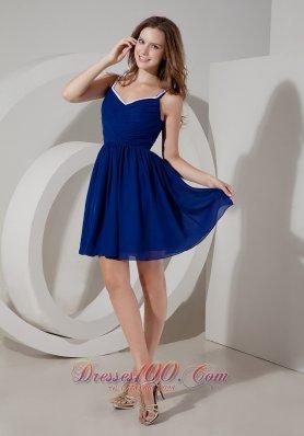 Blue A-line Spaghetti Straps Mini Ruch Prom Dress