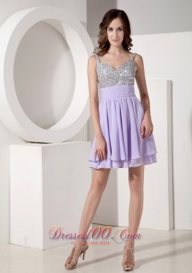 Lilac Beaded Straps Empire Beading Prom / Cocktail Dress