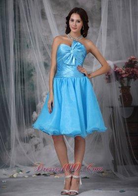 Aqua Princess Knee-length Bow Prom Homecoming Dress