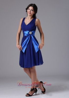 Straps V Neck Peacock Blue Prom Dress With Bowknot