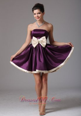 Dark Purple Prom Dress Sash Mini Champagne Bow