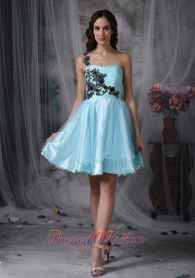 Aqua A-line One Shoulder Mini Appliques Prom Dress