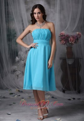 Aqua Blue Empire Knee-length Ruch Dress for Prom