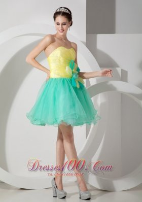 Apple Green and Yellow A-line Flowers Prom Graduation Dress