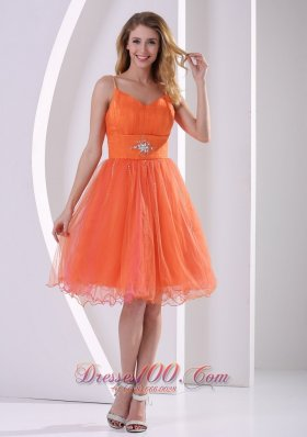 Orange Red Spagetti Straps Cocktail Dress Beading Ruch